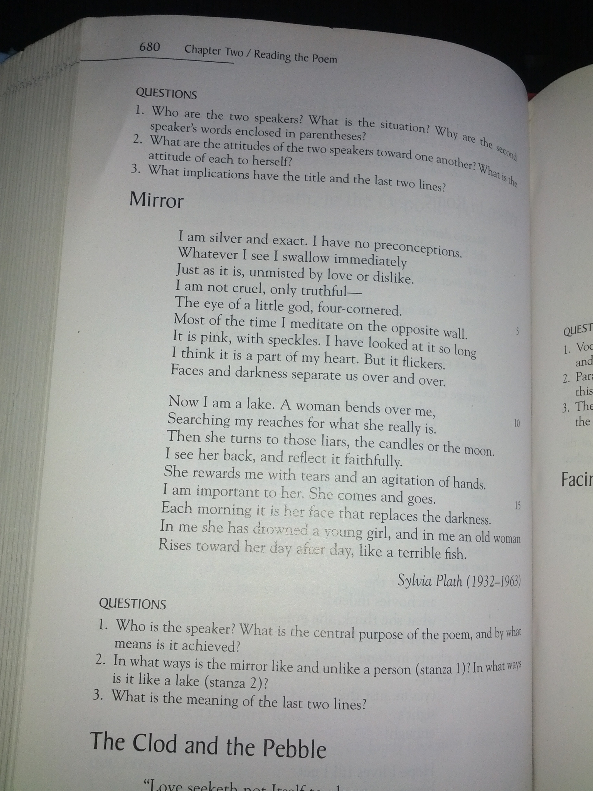an analysis of the poem mirror by sylvia plath What are the pictures used in the poem  mirror by sylvia plath - mirror by sylvia plath who is the narrator of this poem  in sylvia plath s mirror ,.